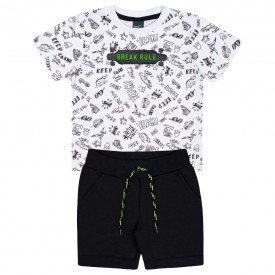 onjunto infantil masculino camiseta branca e bermuda preta 5371 10693