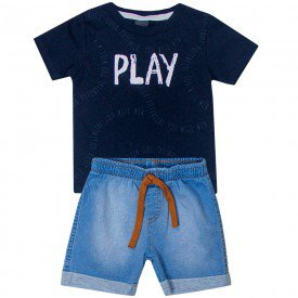 conjunto infantil masculino play camiseta marinho e bermuda jeans confort 5372 10695