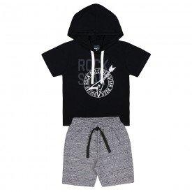 conjunto infantil rock camiseta preta e bermuda preta 5379 10704