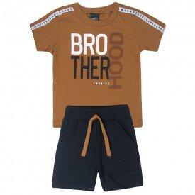 conjunto infantil brotherhood camiseta caramelo e bermuda preta 5376 10700