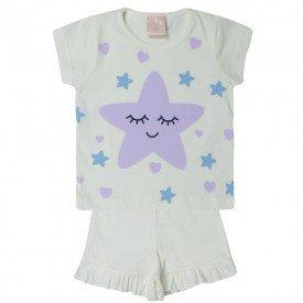 pijama bebe menina estrela off white 1378 10439