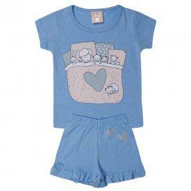 pijama infantil menina amigos azul 138 10446