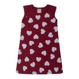 vestido infantil menina coracoes vermelho 1388 10454