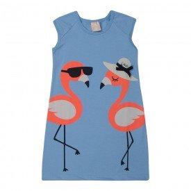 vestido infantil menina flamingos azul claro 1399 10468