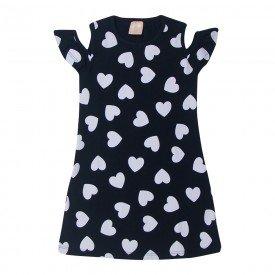 vestido infantil feminino coracoes preto 1404 10471