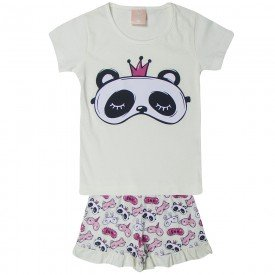 pijama infantil menina panda off white 1405 10474
