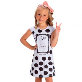 vestido infantil feminino neoprene dog branco 1413 10476