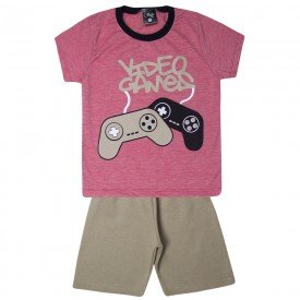 conjunto infantil menino video game vermelhomarfim 1451 10524