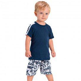 conjunto infantil camiseta marinho e bermuda estampada 1433 1440 10534