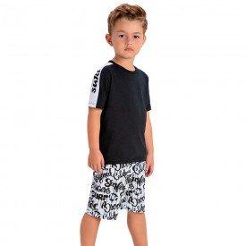 conjunto infantil camiseta preta e bermuda estampada 1433 1440 10535