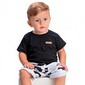 conjunto infantil camiseta preta com patch e bermuda listrada 1422 1434 1448 10536