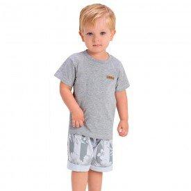 conjunto infantil camiseta mescla com patch e bermuda listrada 1422 1434 1448 10537