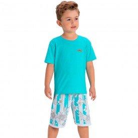 conjunto infantil camiseta verde com patch e bermuda listrada 1422 1434 1448 10538