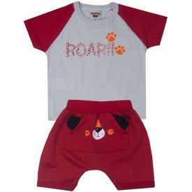 conjunto bebe menino camiseta roarh e saruel cinzavermelho 5175 10554