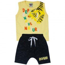 conjunto bebe menino regata divertida e saruel amarelopreto 5176 10556