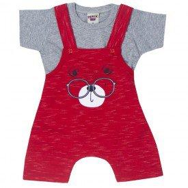 conjunto bebe menino jardineira urso e camiseta mesclavermelho 5185 10574