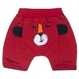 bermuda bebe menino moletinho bolso canguru urso vermelho 5187 10580