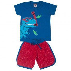 conjunto infantil masculino dino mergulhador azul mozaico vermelho 5195 10587