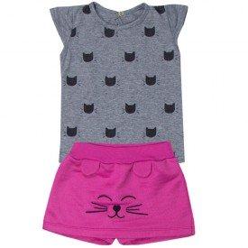 conjunto bebe menina blusa e short saia gatinho mesclapink 5106 10625