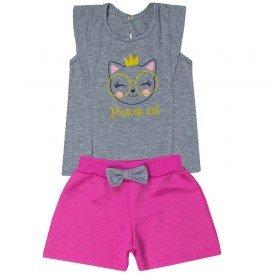 conjunto bebe menina princess cat mesclapink 5108 10626