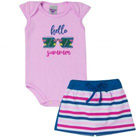 conjunto bebe menina body e short saia hello rosaazul 5109 10628 2