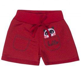 shorts infantil menina panda vermelho 5136 10650