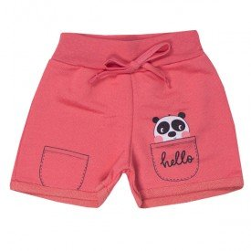 shorts infantil menina panda rosa vegas 5136 10651