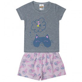 pijama infantil menina gato sorvete mescla 3301 10298