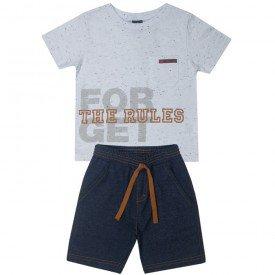 10698 conjunto infantil masculino camiseta branca e bermuda sarja 5375